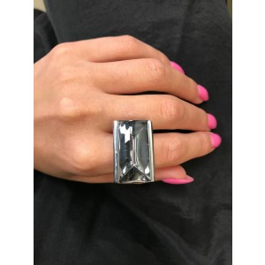 Baccarat So Insomnight Silver Mordore Crystal 925 Sterling Silver Solitaire Ring