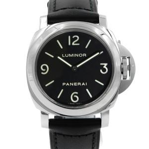 Panerai Luminor Base 44mm Steel Leather Black Dial Hand Wind Mens Watch PAM00112