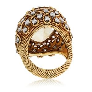 David Webb 18K Yellow Gold Bombe Citrine Large Diamond Ring 5.50cttw Size 9