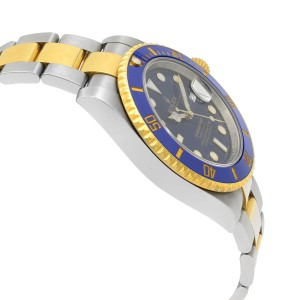 Rolex Submariner 18k Gold Steel Ceramic Blue Dial Automatic Mens Watch 116613LB