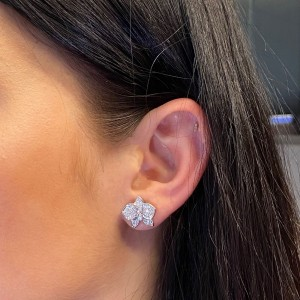 Cartier 18K White Gold Diamond Caresse D'Orchidees Par Small Earrings 0.31cttw