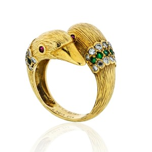 Van Cleef & Arpels 18K Yellow Gold Twin Duck Head Crossover Ring Size 7