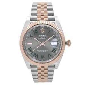 Rolex Datejust 41mm Wimbledon 18k Everose Gold Steel Dial Mens Watch 126331GYRJ