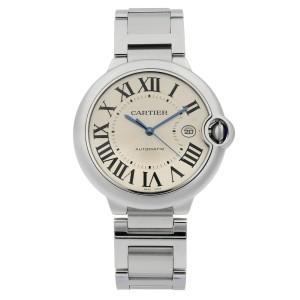 Cartier Ballon Bleu Steel Silver Guilloche Dial Automatic Mens Watch W69012Z4