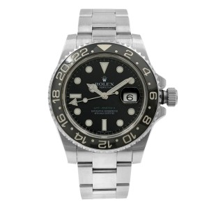 Rolex GMT-Master II Black Index Dial Oyster Steel Automatic Mens Watch
