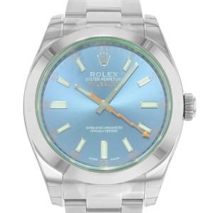 Rolex Milgauss Steel Green Sapphire Z-Blue Dial Automatic Mens Watch 116400GV