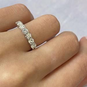 Rachel Koen 14K White Gold Diamond Ladies Wedding Band Ring Size 6.75 1.14cttw