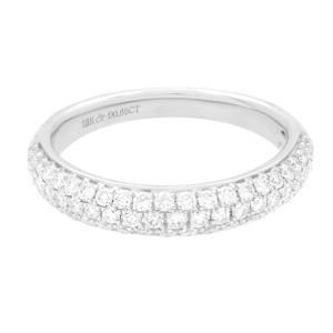 Rachel Koen 18K White Gold Pave Diamond Wedding Band Ring Size 7 0.65 cttw