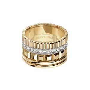 Boucheron Quatre Radiant 18K Rose Gold & White Gold Diamond Ring Size 9.5