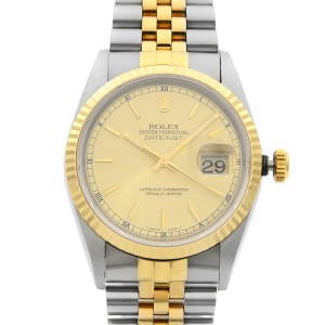 Rolex Datejust 36mm Gold Steel No Holes Champagne Dial Mens Watch 16233