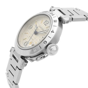 Cartier Pasha GMT Stainless Steel Silver Dial Automatic Unisex Watch W31029M7