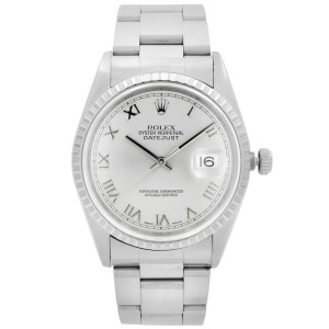 Rolex Datejust 36mm Oyster Steel Silver Roman Dial Automatic Watch 16220