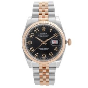 Rolex Datejust 36mm 18K Rose Gold Steel Black Dial Mens Watch 116231BKCAJ