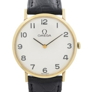 Vintage Omega 33mm 14k Gold White Arabic Dial Manual Winding Mens Watch D 6672