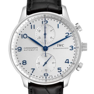 IWC Portuguese Chrono Silver Dial Blue Hands Steel Mens Watch IW371446