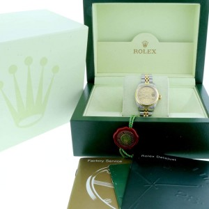 Rolex Datejust Ladies 2-Tone 18K Yellow Gold/Steel Original Champagne Stick Dial 26MM Jubilee Watch 69173