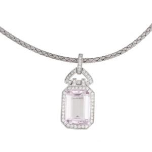 18k White Gold Diamonds And Morganite Stone Necklace