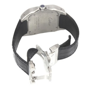 Cartier Santos 100 XL 2656 Stainless Steel Leather Strap Watch