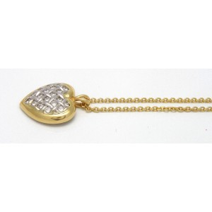 14K White/Yellow Gold Diamond Heart Pendant Necklace