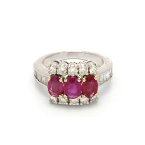 18K White Gold 2.00 Ct Ruby and 1.20 Ct Diamond Ring Size 5