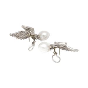 Ruser Platinum 18K White Gold Diamond Pearl Day-Night Drop Earrings