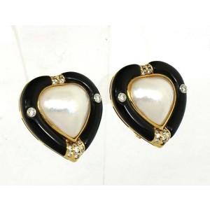 Vintage 18k Y/Gold  Diamond, Onyx & Mabe Pearl Stud Earrings