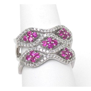 14k White Gold 1.80ctw Diamond & Ruby Fancy Open Design Wave Ring/Band