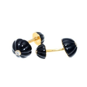 Cartier 18k Yellow Gold Carved Onyx & Diamond Cufflinks