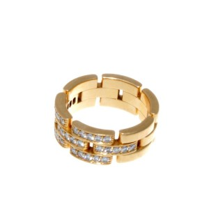 Cartier 18K Yellow Gold And Diamonds Maillon Panthere Ring Size US 6.75 EU 54