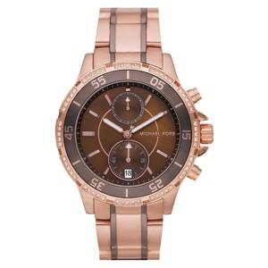 Michael Kors MK5553 Chronograph Two Tone Brown Dial Women's Chronograph Watch