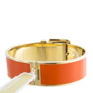 Michael Kors Orange Steel Buckle Gold Engraved & Enamel Bracelet