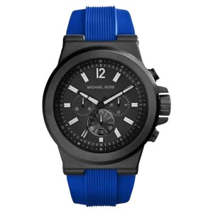 Michael Kors MK8357 Dylan Chronograph Black Dial Blue Silicone Mens Watch