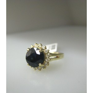 14K YELLOW GOLD SAPPHIRE DIAMONDS LADIES RING SIZE 6.75