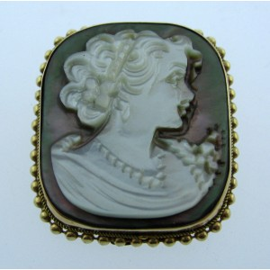VINTAGE 14K YELLOW GOLD MOTHER OF PEARL CAMEO BROOCH PIN