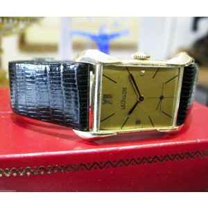 Le Coultre 14K Yellow Gold Fancy Lugs Manual Wind Dress Vintage Mens Watch