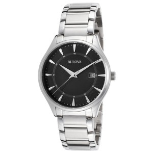 Bulova 96B184 Bracelet Black Dial Stainless Steel Mens Watch