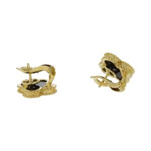 Van Cleef & Arpels 18K Yellow Gold Black Onyx Alhambra Earrings