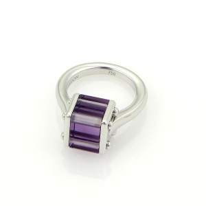 Louis Vuitton 18K White Gold with 9.00ct Amethyst Cocktail Ring Size 5