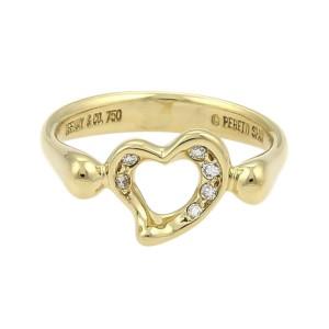 fbf7ee020 Tiffany & Co. Elsa Peretti 18K Yellow Gold & 0.06ct Diamond Open Heart Ring