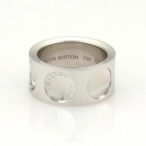 Louis Vuitton Impreinte 18K White Gold Band Ring Size 6.5