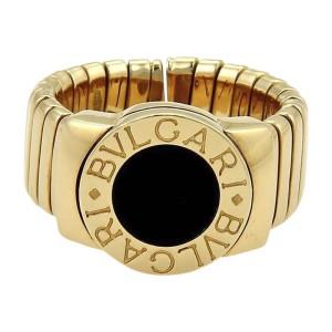Bulgari Tubogas 18K Yellow Gold & Onyx Wide Band Ring Size 6.5