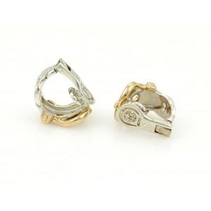Hermes 18k Yellow Gold 925 Sterling Silver Belt Buckle Clip On Hoop Earrings