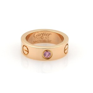 Cartier Love 18K Rose Gold with 0.06ct Pink Sapphire Band Ring Size 4