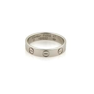Cartier Mini Love Platinum Band Ring Size 4
