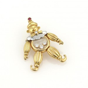 Chopard Happy Diamonds 18K Yellow and White Gold with 0.16tcw Diamond and Ruby Clown Pendant / Pin Brooch
