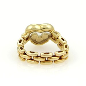 Chopard Happy Diamonds 18K Yellow Gold with 0.15ct Diamond Heart Flex Chain Band Ring Size 5