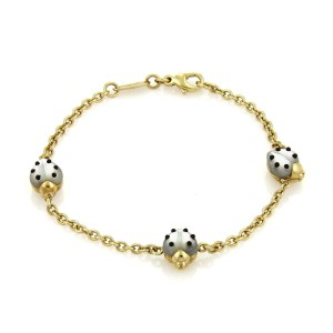 Chopard 18K Yellow Gold with Mother of Pearl & Onyx 3 Ladybug Charms Chain Bracelet