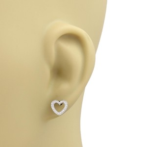Tiffany & Co. 18K White Gold & 0.20ct. Diamonds Open Heart Stud Earrings