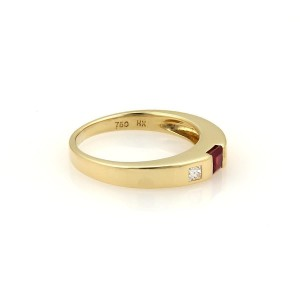Tiffany & Co. 18K Yellow Gold with Ruby & Diamond Stack Band Ring Size 4.5