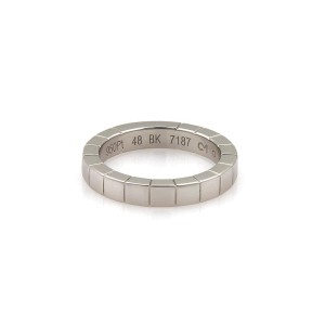 Cartier Lanieres 18K White Gold Wide Band Ring Size 4.5